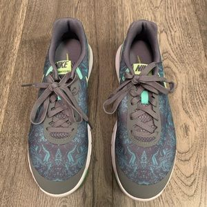 Nike Flex RN 5 running shoes grey teal print 9.5